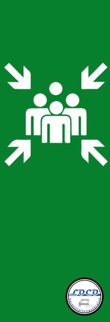 Fahne Banner Sammelplatz Sammelstelle Veranstaltung Konzert Leitsystem Personenleitsystem