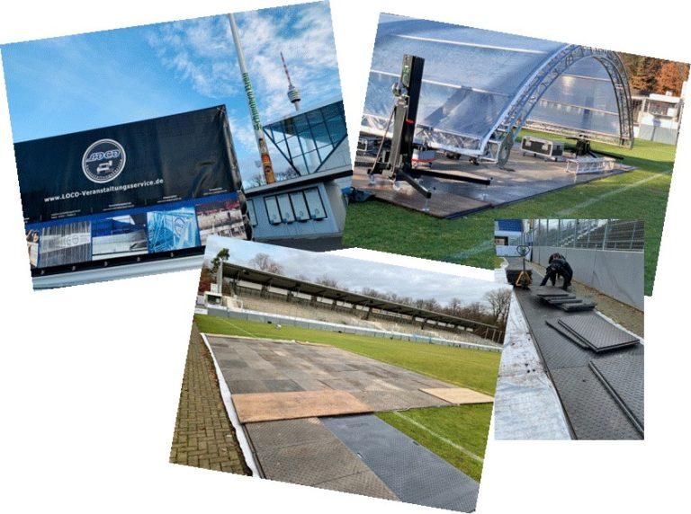 Gazi-Stadtion Stuttgart Bodenschutz Bodenplatten Rempla Plywood LOCO Mats Konzert Veranstaltung Event Eventboden Rasenschutz OpenAir