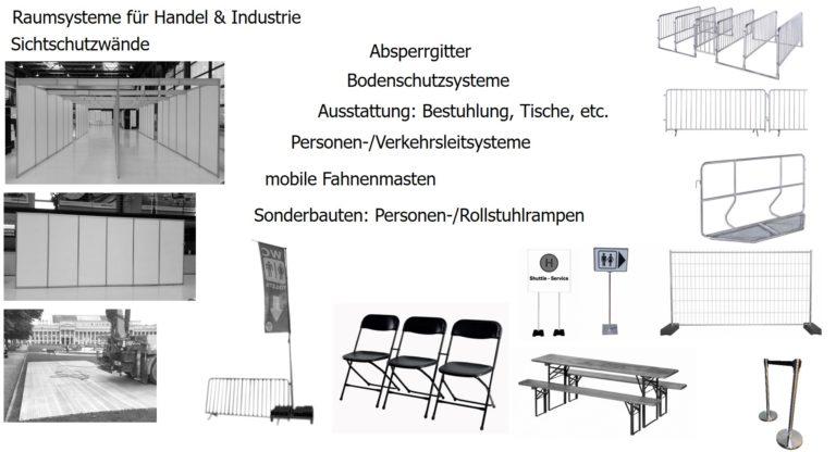 Trennwände mobile Fahnenmasten Absperrgitter Bodenschutzsysteme Sonderbauten Raumsysteme Handel Industrie