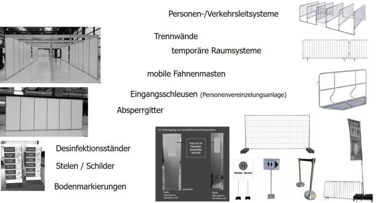 Eingangsschleusen Schilder Bodenmarkierungen mobile Fahnenmasten Trennwände Personenleitsystem Leitsystem Verkehrsleitsysteme Absperrgitter