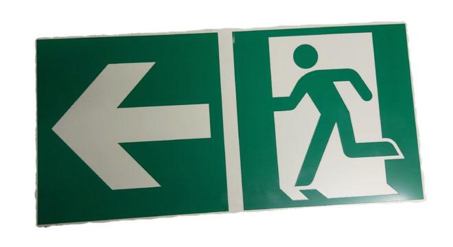 Notausgangsschild Hinweisschild Pfeil nach links