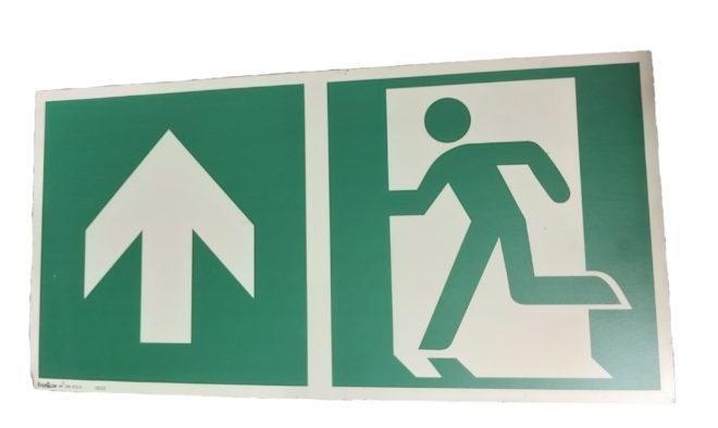 Notausgangsschild Hinweisschild Pfeil geradeaus Fluchtweg