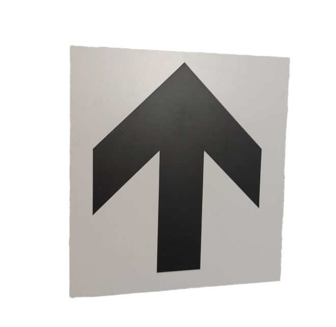 Hinweisschild Pfeil oben Personenleitsystem Leitsystem leiten Personen Verkehr Veranstaltungslocation